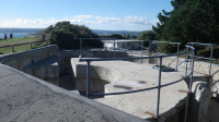 Gun pit, restored coastal battery at St Anthony's