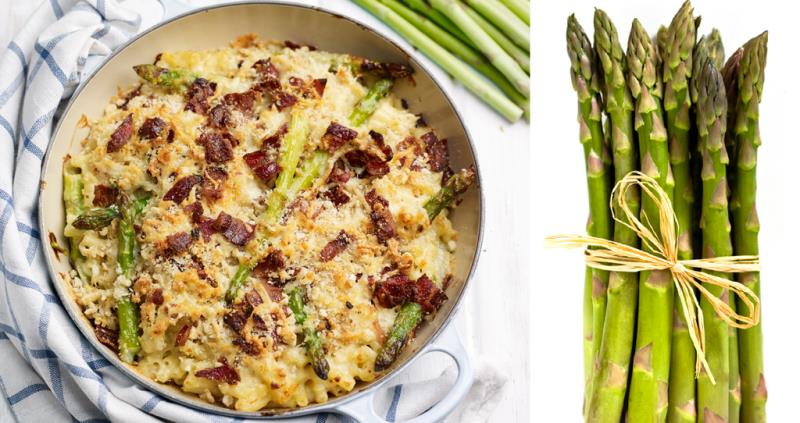 Asparagus mac 'n' cheese with bacon crumble