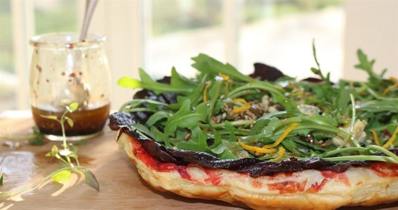 Beetroot and Stilton upside down tart