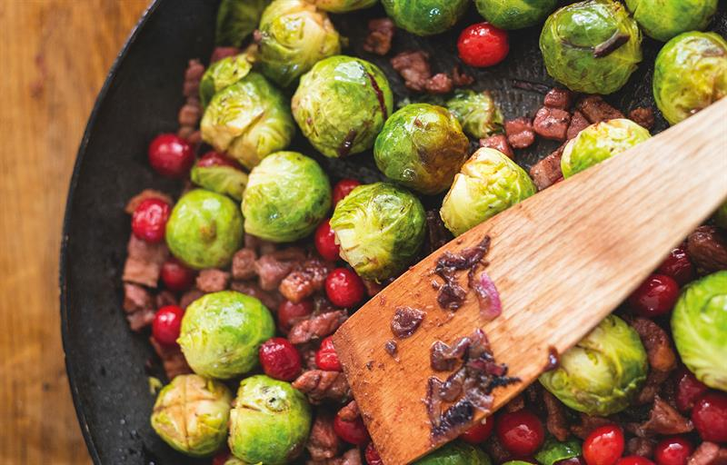 Brussel sprouts with Applewood smoked bacon, cranberries and red wine