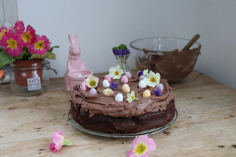 Milk chocolate and sour cream Easter cake